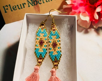 Beaded Tassel Earrings - Seed Beads