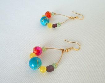 Colorful Beaded Dangle Earrings