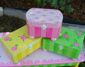 Hand Painted Jewelry Boxes-Painted wooden boxes-Flower girl gift-Treasure Box-Jewelry Storage