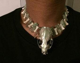 Real animal skull necklace, mink with crystals and bones