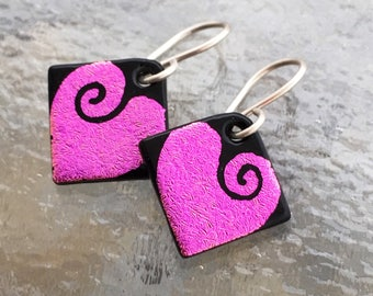 Small Love Hearts Dichroic Glass Earrings Handetched Pink
