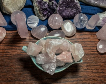 Rose Quartz Rough Crystals & Sticker Sets   Crystals Hand Picked with Love