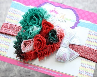 Baby Bows, Toddler Bows, Girls Hair Bow, Christmas Headband, Holiday Headband, Baby Headband, Toddler Headband, Red Green White Headband
