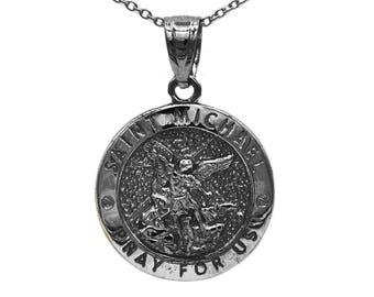 14k saint michael etsy 14k black rhodium gold saint michael medallion with gold chain st michael pendant religious engraved aloadofball Gallery