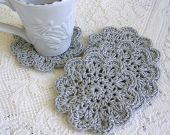 Crochet Coasters - Modern Minimalist Grey Drink Coasters -  Gray Doily Coaster Set - Handmade Coasters - Cottage Style Decor - Rustic Decor