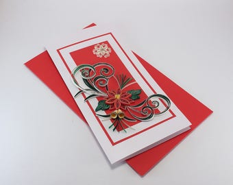 Christmas Card - Handmade Quilled Card with Snowflake and Poinsettia - Xmas greeting card - Luxuru Quilling Christmas Card