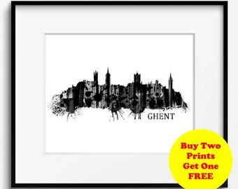Ghent Skyline Watercolor Black and White Art Print (823) Ghent Cityscape, Ghent Art Print, Ghent Poster, Belgium Art Print