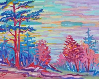 Toward the Manitou, Oil on birch door, 16 x 20