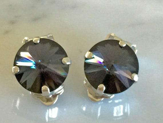 Graphite Crystal Clip On Earrings, Swarovski Graphite Clip On Earrings, Swarovski Gray Clip On Earrings