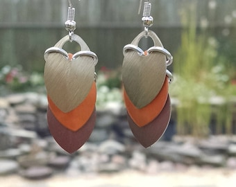 Dragon Scale Earrings - Autumn colors