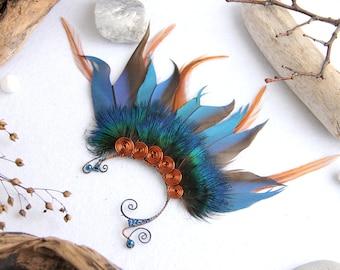 Blue Ear Cuff Blue Feather Ear Cuff Elven Ear Cuff Mermaid Ear Cuff Blue Shamanic Ear Cuff Festival Ear Cuff Blue Feather Hair Extension