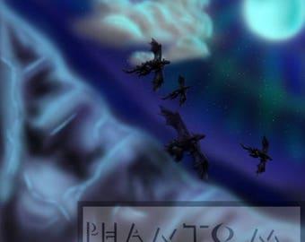 Digital dragon art, Night Mountain