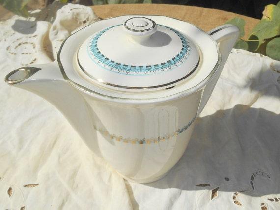 French Art Deco Tea Pot 1930's Large Off White Porcelain Pot Blue Trim and Gilded Design Longwy Marks #SophieLadyDeParis