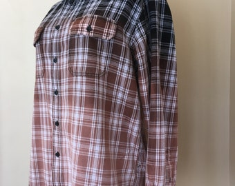 Upcycled Vintage Ombre Bleached Flannel Shirt (Faded Glory)