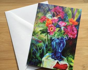 Blue Vase Red Stool-Blank Greeting Card