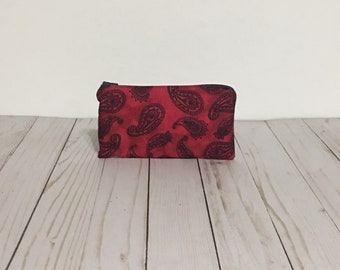 Red and Navy Paisley Storage Bag | Paint Brush Holder | Cute Zipper Pouch | Small Zippered Coin Purse | Makeup Brush Holder Bag