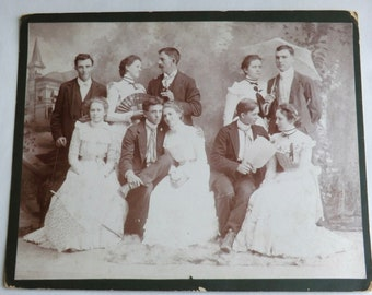 Rare Antique Photo Romantic Playful Photo of Five Edwardian Couples 8x10 Hand Fans Parasols