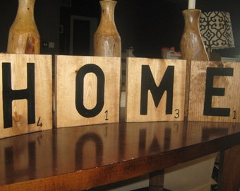 Large Scrabble Tiles set of 4 you pick  Wood stained and hand painted  7.25 x 7.25 in