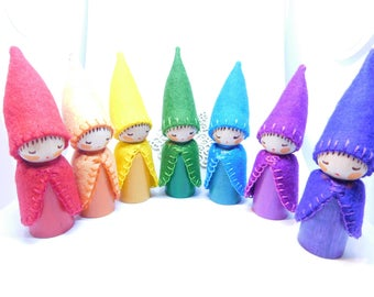 Rainbow Bright Gnomes A Set of Seven Wooden Peg Dolls Waldorf inspired hand crafts