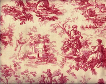 Red and Cream Toile Curtain Valance