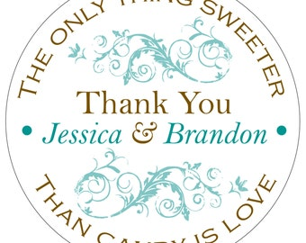 100 - 2 inch Custom Glossy Waterproof Wedding Stickers Labels - many designs to choose from - change designs to any color, wording WR-055