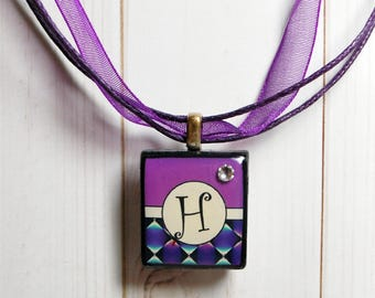 Initial jewelry - letter jewelry - personalized necklace - initial charm - Scrabble charm - best friend gift - gift for her - purple charm
