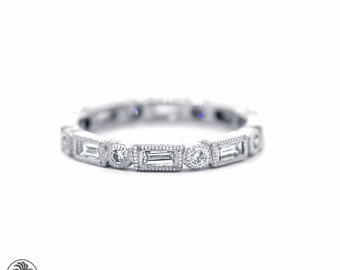 Platinum Baguette Ring, Baguette and Round Diamond Eternity Band, Eternity Band, Wedding Band,Eternity Diamond Wedding Band, |LDR02267