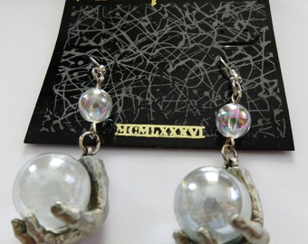 Rare JJ Jonette Mystical Hand Holding Crystal Ball Pierced Earrings
