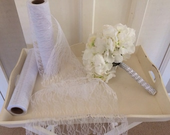 White vintage style lace fabric roll 10 metres x 30cms wedding decor pew ends, Table runners,Table centrepieces, Rustic wedding shabby chic
