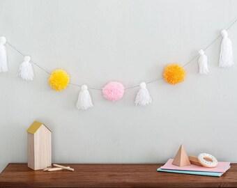 Pom Pom garland, tassel garland, Pom Pom, tassel, nursery decor, living room decor, pink garland, babies room, nursery decor, baby bunting
