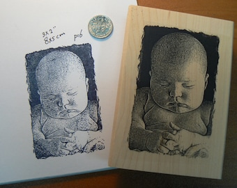 P16 baby rubber stamp 3x2 inches