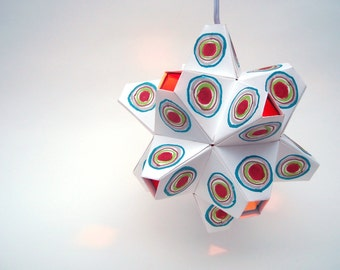Paper Origami Lamp. Multicolor with Red and Aqua Interior. 48 sides. (Polyhedra Luminaria Series)