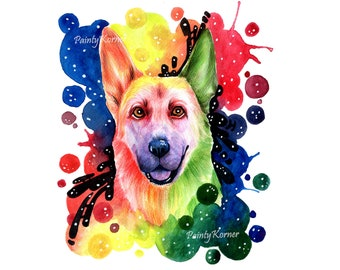 Custom Vibrant Rainbow Pet Portrait