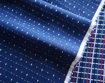 Japanese fabric blue indigo stitched embroidered colorful dots 150 * 50 cm