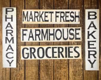 Farmhouse wood sign, market fresh wood sign, groceries wood sign, kitchen decor