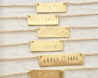 Custom Stamped Name/Monogram Necklace-Silver or Gold
