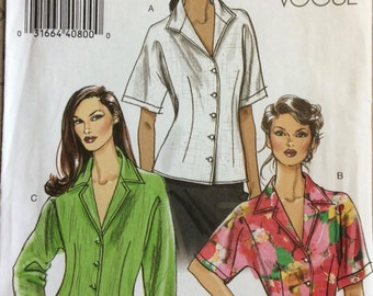 Very Easy Vogue Size 14 16 18 20 UNCUT Church Front button Blouse Dolman Sleeves