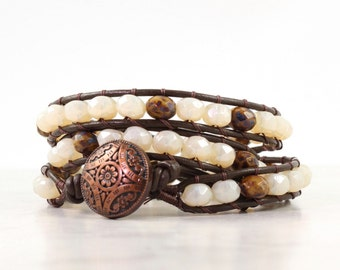 Brown Wrap Bracelet Cream Leather Wrap Bracelet Brown Bohemian Jewelry Triple Wrap Beige Beaded Bracelet Leather Jewelry Boho Jewelry
