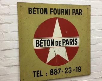 Industrial Vintage French Advertisng Enamel Sign