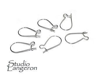 925 Sterling Silver Small Kidney Ear Wire - 2/6/10 pieces, Silver earrings, Ear wire, Silver ear wire, Earring components, Earring findings