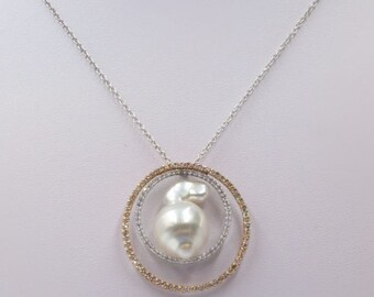 White Baroque Pearl with Diamond Loops Pendant with Chain