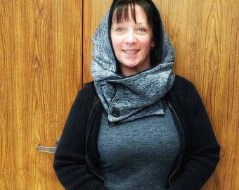 Grey and Black Hooded Scarf