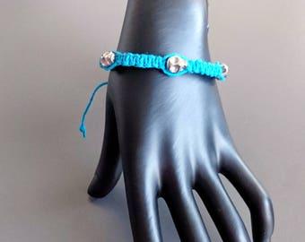 Blue Hemp Skull Bracelet