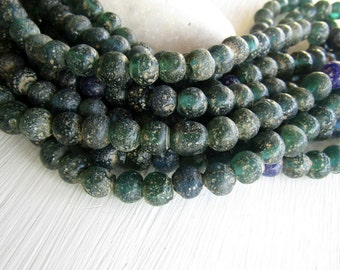 Round green glass beads, rustic green lampwork beads, translucent gritty textured aged look  indonesian 8mm - 9mm (16 beads)  6bb27-9