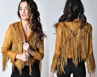 vintage 1970's rare fringe leather jacket rare true xs                             H14
