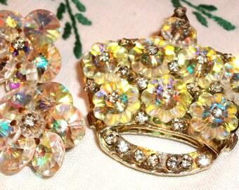 Vintage Crystal & Rhinestone Jewelry SET w/All Glass Rhinestones, FABULOUS Swarovski Crystal AB, Crown Shape, Sale! Mother's Day Queen!