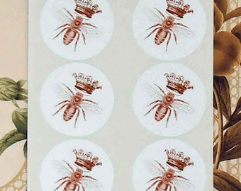 Stickers Queen Bee Vintage Style Envelope Seals Party Favor Treat Bag Stickers SP045