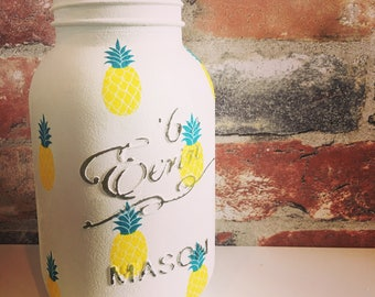 Hand decorated Pineapple print mason Jar