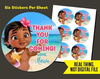 Baby Moana Stickers   Baby Moana Birthday - Baby Moana Thank You StickersPrinted