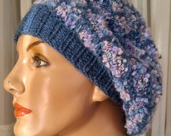 hand knit blue tam, hand-knit beret blue, knit slouchy tam, blue  knit hat, winter hat knit, gift for her, gift under 50, stocking stuffer